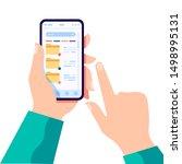 hand holding modern cell phone... | Shutterstock .eps vector #1498995131