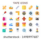 tape icon set. 30 flat tape...