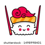 small kawaii sushi with... | Shutterstock .eps vector #1498998401