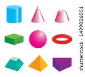 set of volumetric geometrical... | Shutterstock .eps vector #1499026031