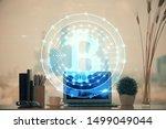 double exposure of blockchain... | Shutterstock . vector #1499049044