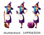 halloween party. beautiful lady ... | Shutterstock .eps vector #1499065034
