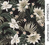 tropical vintage night white... | Shutterstock .eps vector #1499080274
