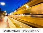 Blurred moving dutch train