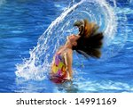 Young girl in swimming pool flipping wet hair - stock photo