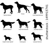 Stock vector dogs gun dog icon set vector silhouette collection 149915741