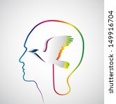 human head with paper rainbow... | Shutterstock .eps vector #149916704