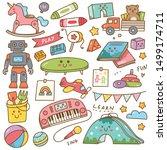 kindergarten toys and equipment ... | Shutterstock .eps vector #1499174711