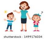 parent help teach kid... | Shutterstock .eps vector #1499176034
