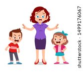 mom with kids fighting ague | Shutterstock .eps vector #1499176067