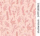 cute line floral seamless... | Shutterstock .eps vector #1499180861