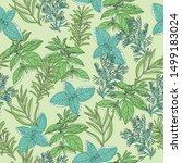 vector seamless green herb... | Shutterstock .eps vector #1499183024