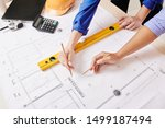 team of engineer and architect... | Shutterstock . vector #1499187494