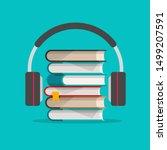 audio books with headphones... | Shutterstock .eps vector #1499207591