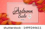 autumn sales banner design with ... | Shutterstock .eps vector #1499244611