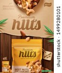 premium nuts poster ads on... | Shutterstock .eps vector #1499280101