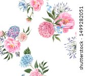 watercolor floral pattern  pink ... | Shutterstock . vector #1499282051