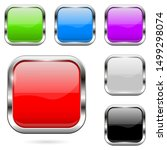 colored buttons set. shiny 3d... | Shutterstock .eps vector #1499298074