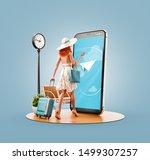 unusual 3d illustration of a... | Shutterstock . vector #1499307257