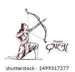 lord rama with arrow killing... | Shutterstock .eps vector #1499317277