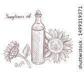 vector drawing sunflower oil ... | Shutterstock .eps vector #1499319371