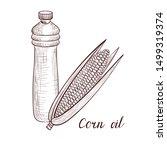 vector drawing corn oil  bottle ... | Shutterstock .eps vector #1499319374