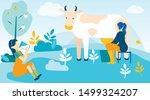 woman milks cow and girl drinks ... | Shutterstock .eps vector #1499324207