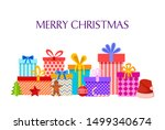 merry christmas card with gift... | Shutterstock .eps vector #1499340674