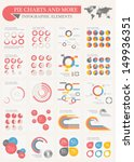Vector pie chart infographic elements set. Flat design vector world map with various of vector infographic elements as charts, pie charts, diagrams for data visualization. - stock vector