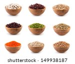 beans in wooden bowl on white... | Shutterstock . vector #149938187