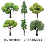 trees collection. green plants... | Shutterstock .eps vector #1499382011