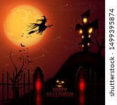 halloween haunted house and... | Shutterstock .eps vector #1499395874