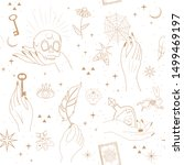 seamless pattern with astrology ... | Shutterstock .eps vector #1499469197