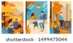 autumn greeting cards   vector... | Shutterstock .eps vector #1499475044