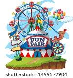 fun fair theme park on isolated ...   Shutterstock .eps vector #1499572904