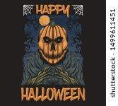 pumpkin happy halloween vector... | Shutterstock .eps vector #1499611451