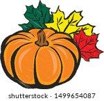 autumn composition  pumpkin... | Shutterstock .eps vector #1499654087