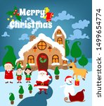santa claus house close with... | Shutterstock .eps vector #1499654774