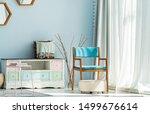 modern interior with blue sofa | Shutterstock . vector #1499676614
