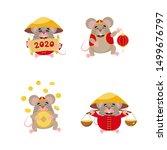 cartoon cute little rats with... | Shutterstock .eps vector #1499676797