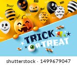 halloween trick or treat with... | Shutterstock .eps vector #1499679047