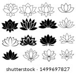 set of stylized lotuses.... | Shutterstock .eps vector #1499697827