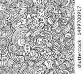 cartoon hand drawn doodles on... | Shutterstock . vector #1499700917