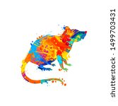 rat. vector silhouette of... | Shutterstock .eps vector #1499703431