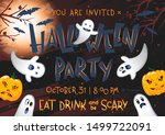 halloween party poster with... | Shutterstock .eps vector #1499722091