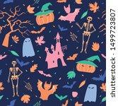 halloween seamless pattern.... | Shutterstock .eps vector #1499723807