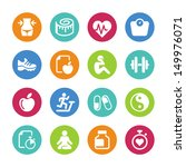Set health and fitness icons