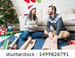 smiling couple talking while... | Shutterstock . vector #1499826791