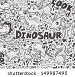 seamless doodle dinosaur pattern   Shutterstock .eps vector #149987495