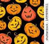 halloween pumpkin seamless... | Shutterstock .eps vector #1499898011